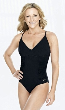 Gabby Logan. 40-year old presenter models swimwear for Speedo's new range of body confidence clothing