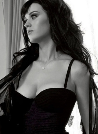 Katy Perry looking hot in black lingerie showing great boobs and cleavage