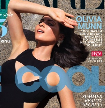 Olivia Munn shows cleavage in black swimsuit on Flare fashion mag cover