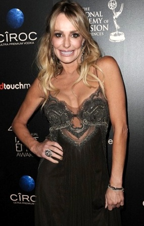 Taylor Armstrong in see-through top at Emmy Awards