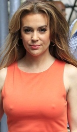 Alyssa Milano wears dress with no bra