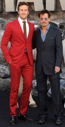 Armie Hammer and Johnny Depp pose for the Lone Ranger London premiere