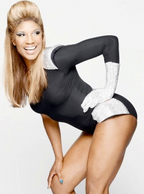 Denise Lewis appearing as Beyonce on ITV's Your Face Looks Familiar