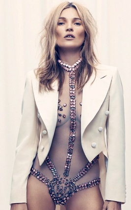 Kate Moss in nude bejewelled body suit for Esquire Magazine: 2013 cover photo by 39-year old model.