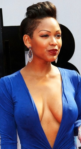 Meagan Good wears plunge front dress with no bra showing lots of cleavage and nipples at BET Awards. Mya from Think Like A Man.