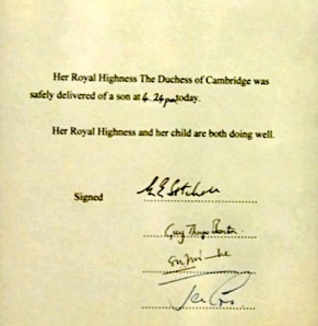 New Royal Prince - official signed announcement from Buckingham Palace
