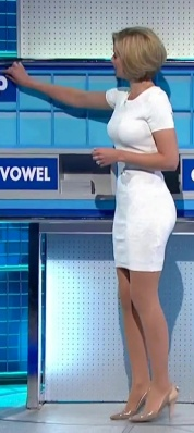 Hot Rachel Riley in tight white dress showing off great figure, boobs, bum, legs. Countdown hottie confirmed for Strictly Come Dancing 2013.
