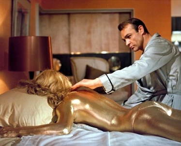 Shirley Eaton nude covered in gold paint in 1964 Bond movie Goldfinger