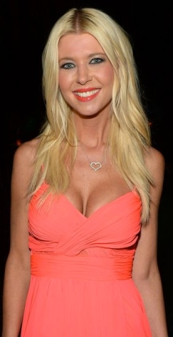Tara Reid shows off big cleavage in pnk dress at Sharknado premiere
