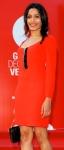 Freida Pinto at Venice Film Festival in orange:red Miu Miu dress