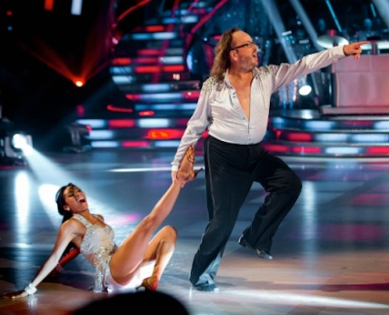 Hairy Biker Dave Myers goes dad dancing and shows off his moobs with Karen Hauer on Strictly Come Dancing