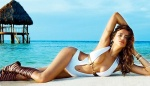 Irina Shayk shows off great breasts in new Beach Bunny swimsuit collection