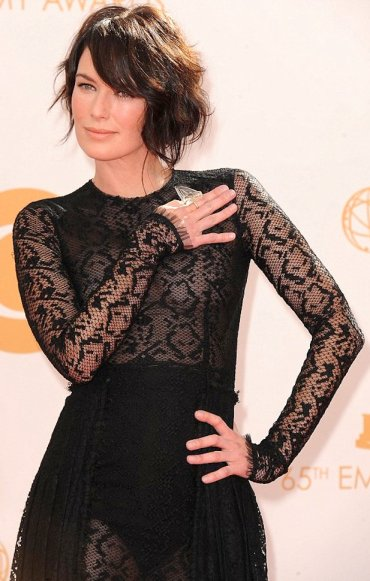 Lena Headey from Game of Thrones in sexy see-through black lace dress showing boobs, cleavage, legs and underwear