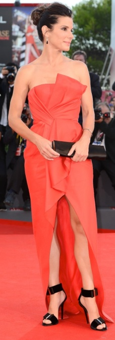 Sandra Bullock looking sexy and stylish in red J Mendel dress