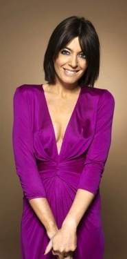 Claudia Winkleman looks cute and shows cleavage in dress