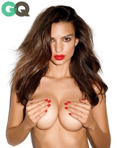 Emily Ratajkowski holds perfect breasts in GQ photo