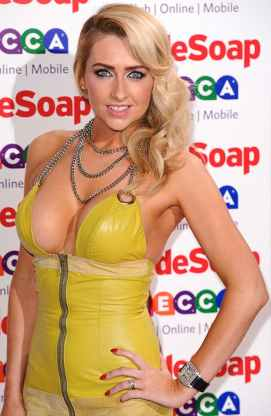 Gemma Merna shows boobs in yellow pvc dress at Inside Soap Awards