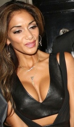 Hello Boys! - Nicole Scherzinger shows nipples and big cleavage in sexy leather top
