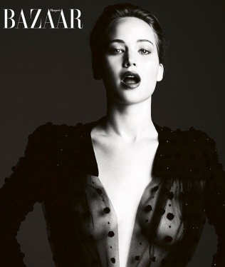Jennifer Lawrence show boobs and nipples in sexy black see-through top