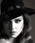 Jessica Alba full face shot film noir style in East West magazine October 2013