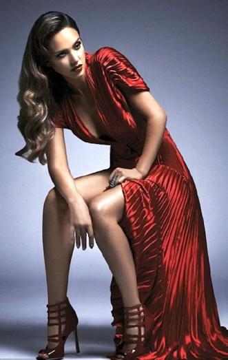 Jessica Alba shows off cleavage and legs in stylish crimson red gown for East West magazine October 2013