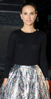 Natalie Portman in silver skirt and seethru black top at Thor-The Dark World premiere October 2013