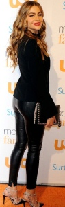 Sofia Vergara shows pert bottom in tight leather trousers at Modern Family Fan Appreciation Day