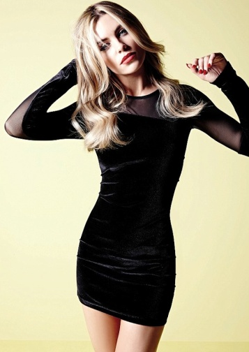 Strictly girl Abbey Clancy models new black Christmas dress from Matalan range