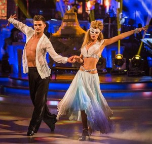 Abbey and Aljaz in skimpy Halloween costumes on Strictly 2013