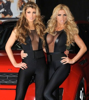 Amy Willerton and Katie Price show off boobs in see-through black outfits