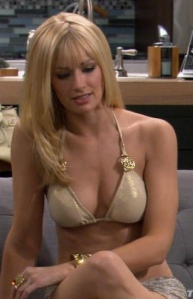 Beth Behrs, 2 Broke Girls Caroline Channing in little bikini top