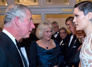 Jessie J in nude top meets a red-faced Prince Charles