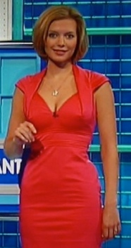 Rachel Riley on Countdown - tight red dress, cleavage and nipples showing through fabric
