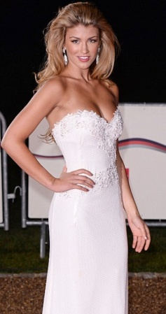 Amy Willerton in beautiful white lace gown at Military Awards 2013