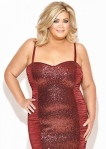 Big curvy girl Gemma Collins in tight red dress that shows her boobs and nipples