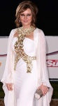 Carol Vorderman looking busty in white Grecian dress at Military Awards