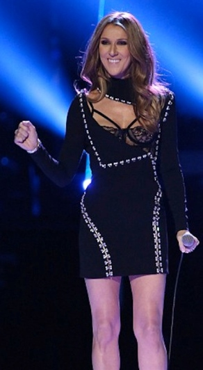 Celine Dion in see-through bra at The Voice final, December 2013