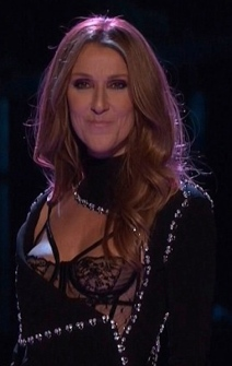 Celine Dion - nipples showing in see-through bra on The Voice