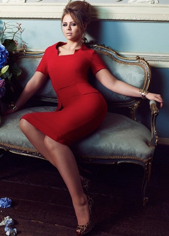 Curvy Kimberley Walsh modelling new figure-hugging red dress for Very clothes collection