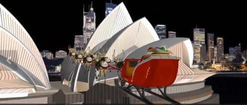 Father Christmas flying over Sydney Opera House
