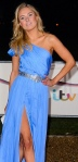 Kimberley Garner from Made In Chelsea showing her thighs in high-split blue dress