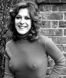 Lynda Bellingham - looks cold out,stiff nipples showing