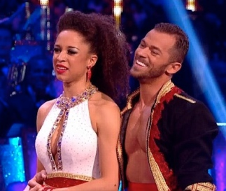 Natalie Gumede shows her cleavage in 2013 Strictly Come Dancing final