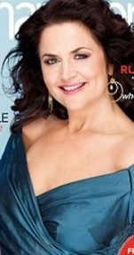 Ruth Jones from Gavin and Stacey, big boobs no bra in low-cut evening dress