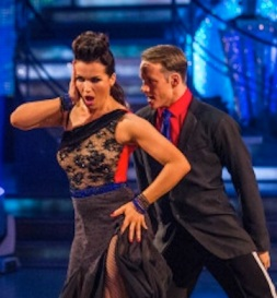 Susanna Reid in black see-through style top in Argentne Tango on Strictly Come Dancing