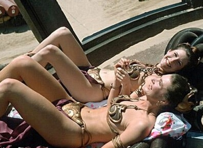 Carrie Fisher as Princess Leia and body double in iconic skimpy gold bikini - Star Wars saga