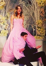 Kaley Cuoco's pink wedding dress by Vera Wang. Big Bang Theory's Penny marries Ryan Sweeting