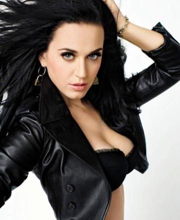 Katy Perry big boobs in black bra in GQ Feb 2014