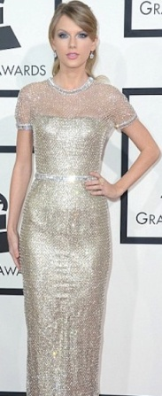 Taylor Swift in chainmail style silver dress at 2014 Grammys