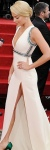 Wolf of Wall Street actress Margot Robbie showing plenty of thigh in white Golden Globes outfit